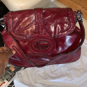 PRADA BURGUNDY CALF LEATHER BAG